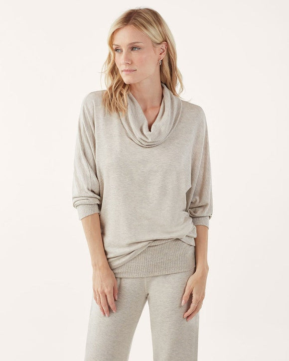 Splendid Super Soft Cowl Neck Sweater in Oatmeal Heather