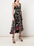 Marchesa Notte 3D Embroidered Hi Low Cocktail Dress