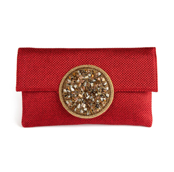 Samser Medallion Clutch in Red
