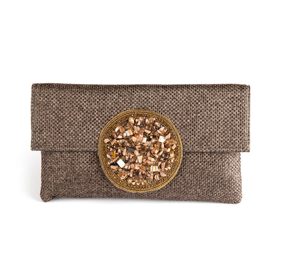 Samser Medallion Clutch in Warm Grey