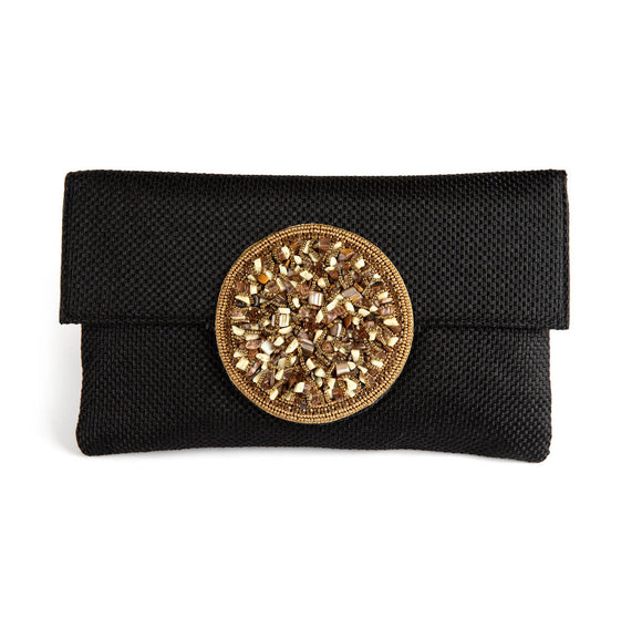 Samser Medallion Clutch in Black