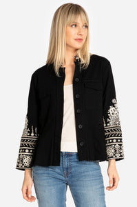 Johnny Was Marik Black Peplum Military Jacket