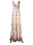 Marchesa Notte V-Neck 3D Floral Embroidered Gown