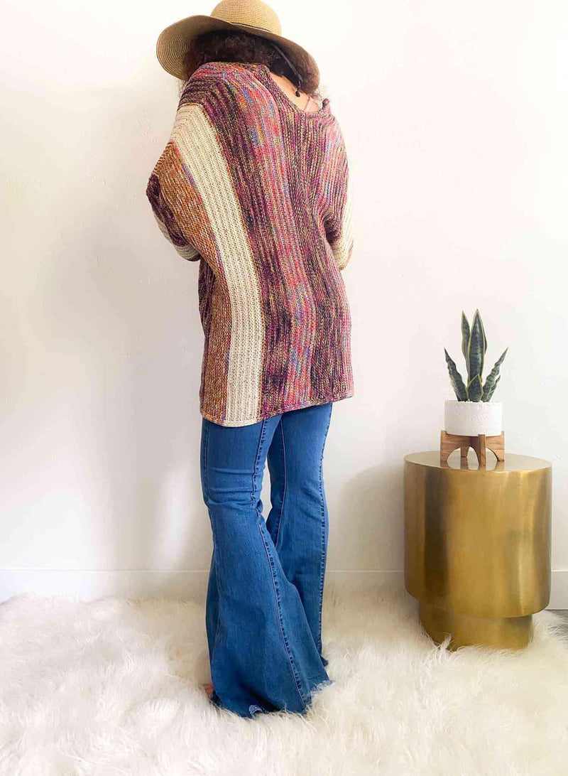 Multi Color Open Front Bohemian Cardigan