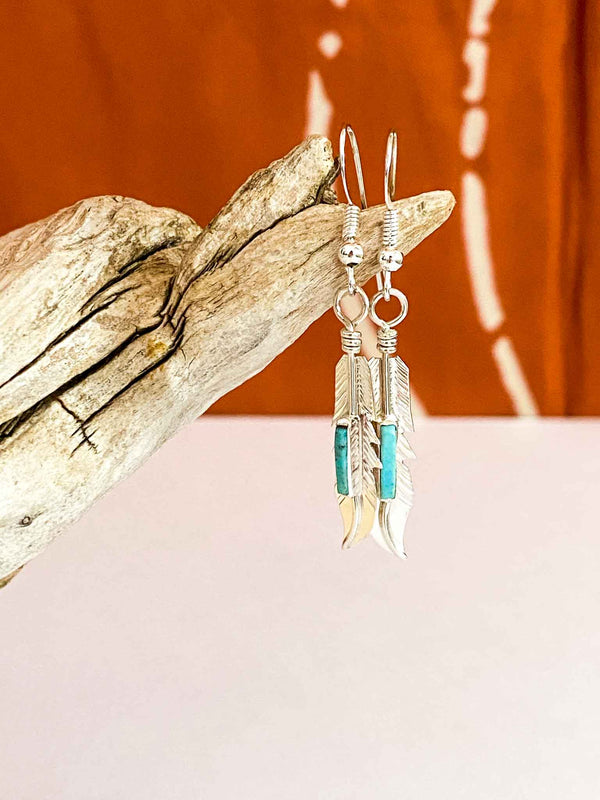 Authentic Navajo Sterling Silver and Turquoise Feather earrings by Allen Barney | Phoenix + Willow