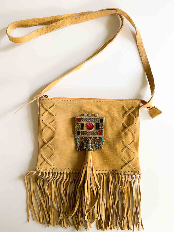 Suede Festival Fringe Bag in Tan | Phoenix + Willow