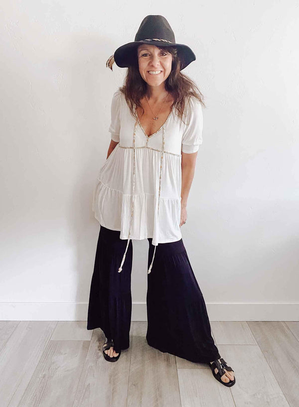 Studio Ko Knit Black Bohemian Palazzo Pants | Phoenix + Willow