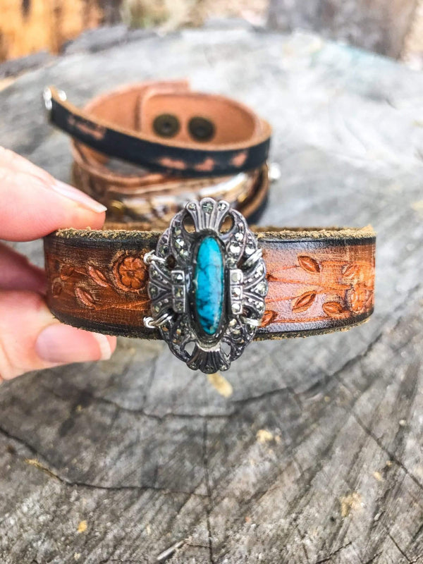 Bohemian Soul Shine Turquoise Leather Cowgirl Cuff Phoenix and Willow