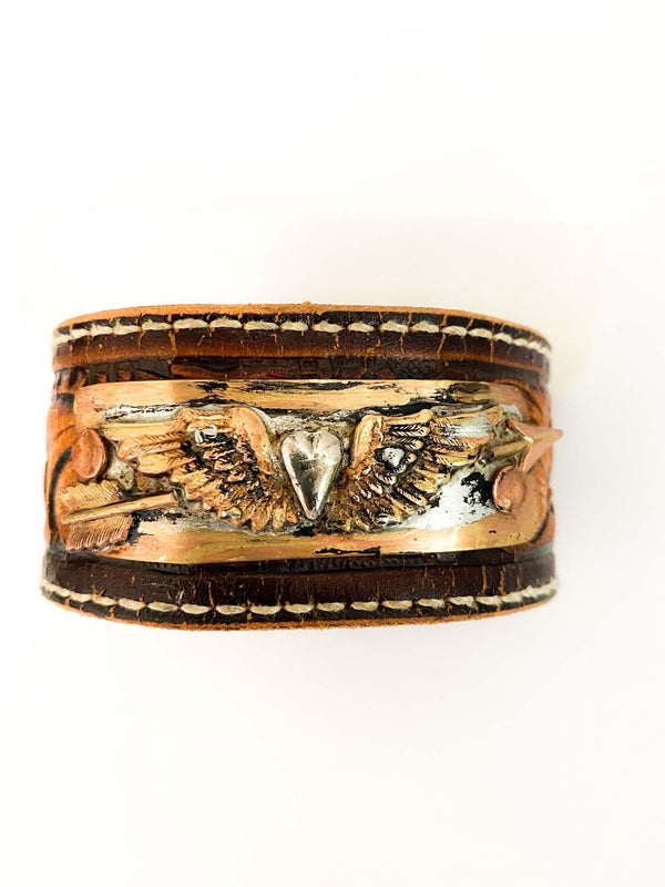 Miranda Lambert Inspired Roots and Wings Boho Gypsy Leather Upcycled Cuff | Phoenix + Willow