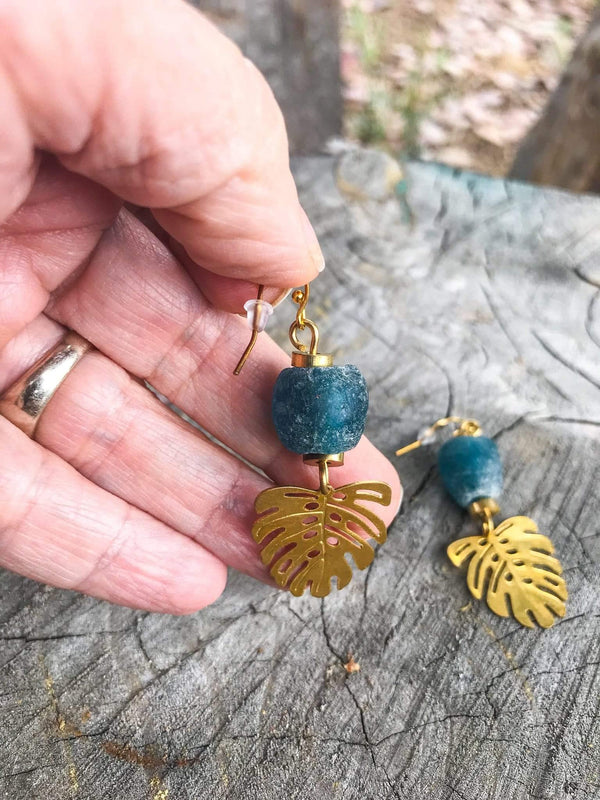 Delgado African Recycled Glass and Brass Leaf Dangle Boho Style Earrings Phoenix and Willow