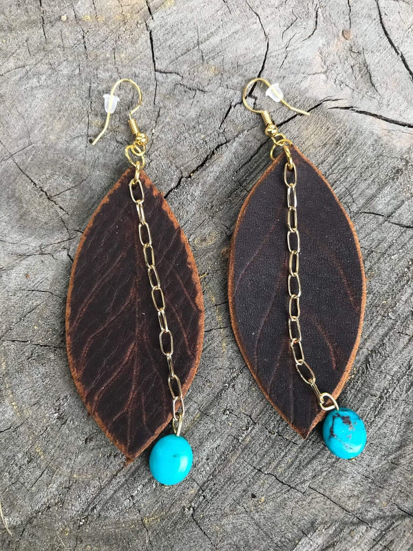 Delgado Leather & Turquoise Leaf Boho Style Earrings Phoenix and Willow