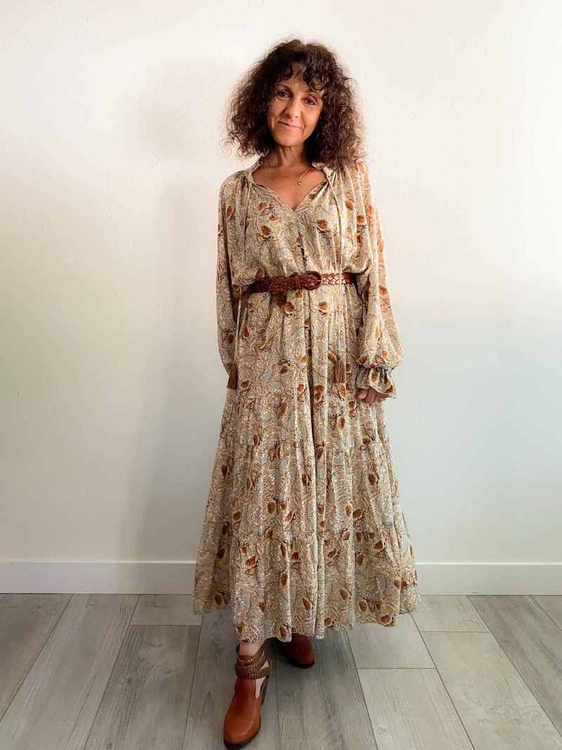Paisley Print Bohemian Tiered Brown and Sage Gypsy Maxi Dress | Phoenix + Willow