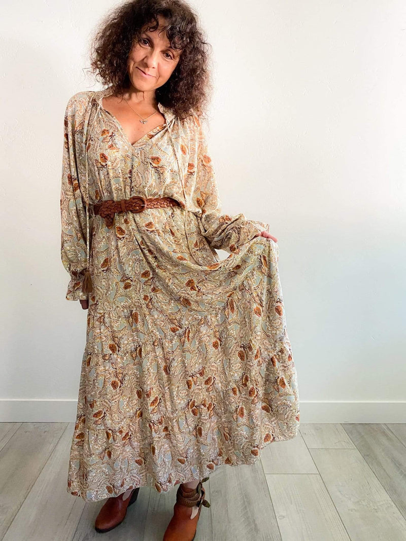 Dress Forum Paisley Print Bohemian Tiered Maxi Dress Phoenix and Willow
