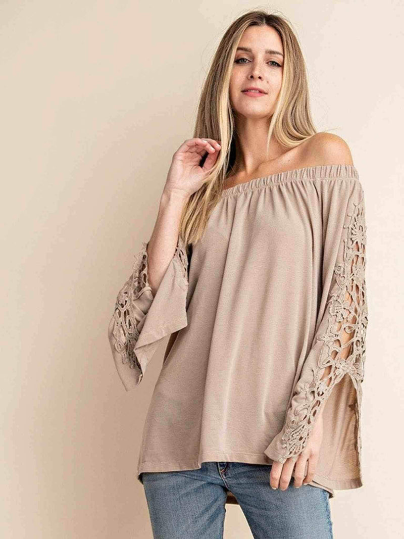 Seaside Off-Shoulder Lace Sleeve Boho Style Top