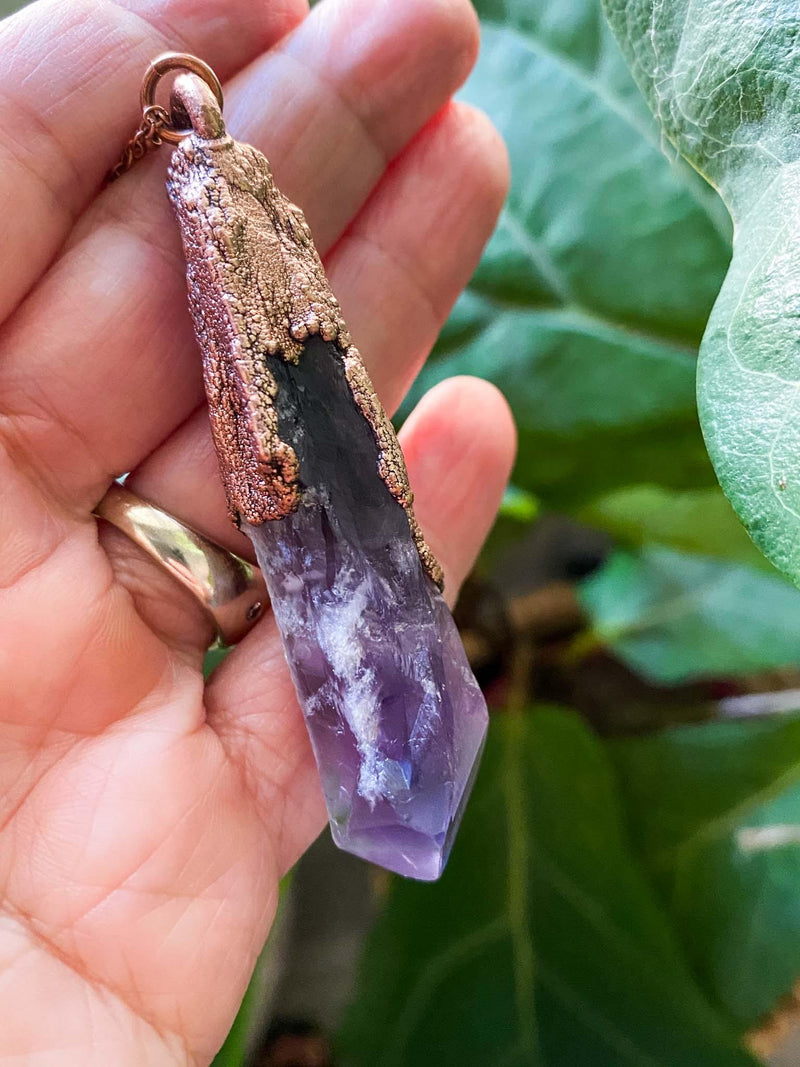 MergingMetals Amethyst Elestial Wand Necklace Phoenix and Willow