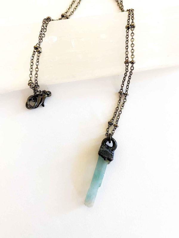 "Raw Aquamarine Birthstone Necklace electroformed 18"" copper chain 