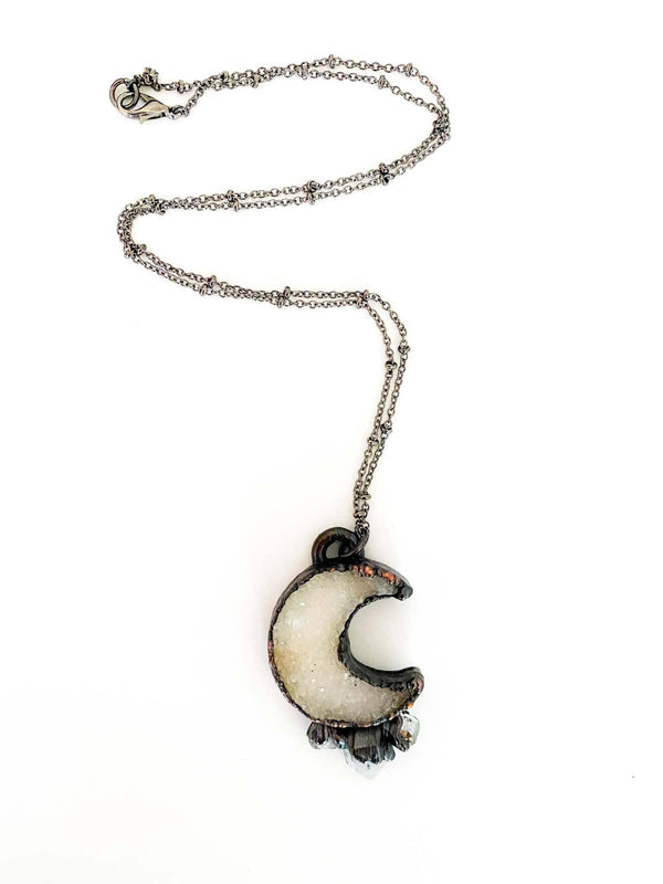 MergingMetals Druzy Crescent Moon Necklace with Herkimer Diamond Starburst Phoenix and Willow