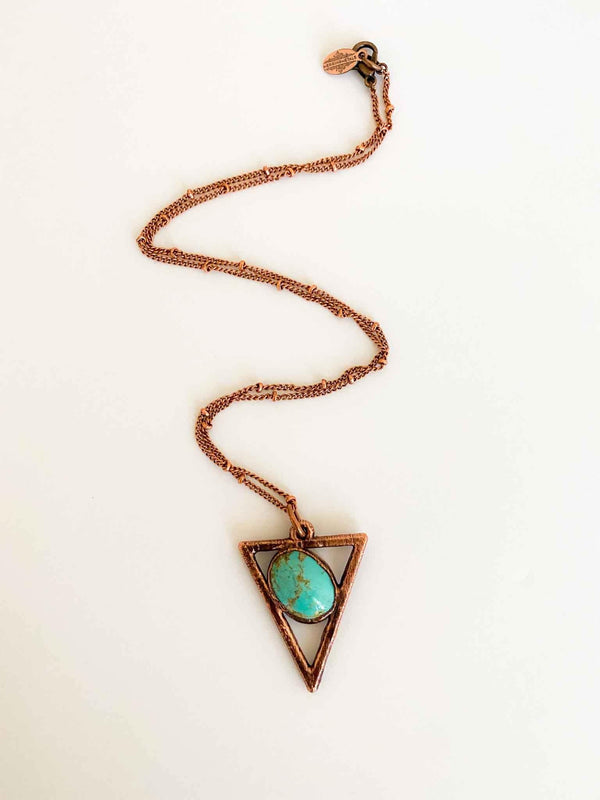 Crescent Valley Turquoise Triangle Copper Necklace | Phoenix + Willow
