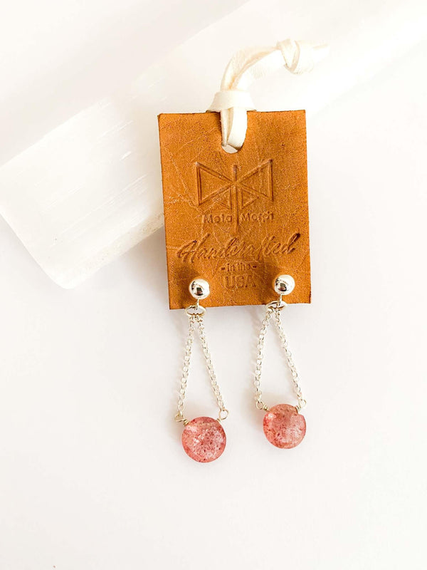 MetaMorph Strawberry Quartz Silver Stud Dangle Earrings | Phoenix + Willow