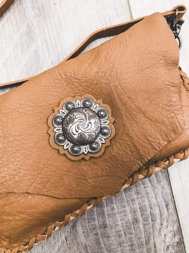Montana West Brown Leather Concho Clutch Phoenix and Willow
