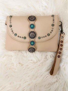 Tan Leather Concho Crossbody Wristlet