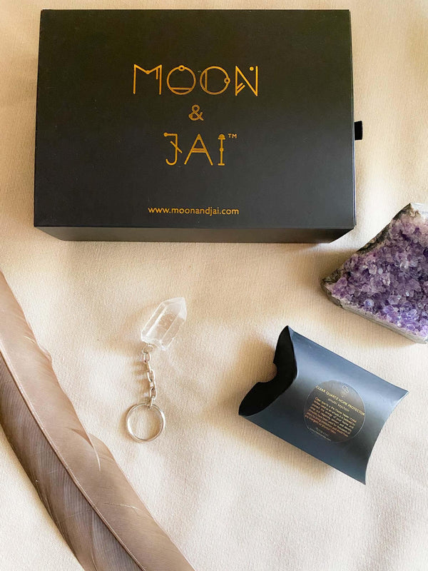 Moon & Jai Moon & Jai Clear Quartz Home Protector Amulet Keychain Phoenix and Willow