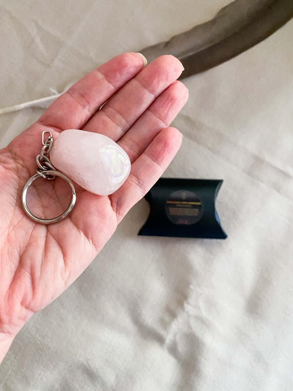 Moon & Jai Rose Quartz Home Harmonizer Talisman Keychain Phoenix and Willow