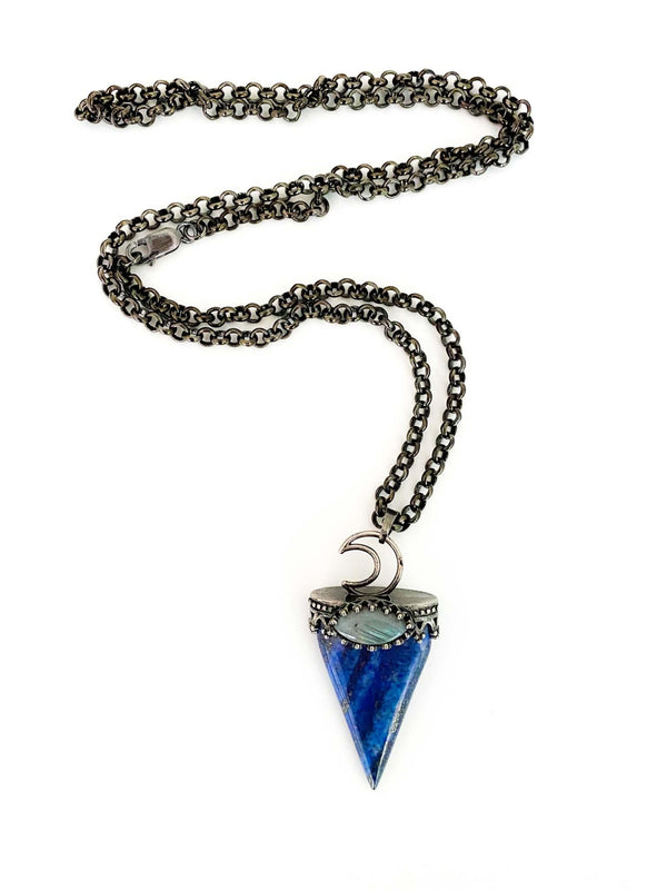Phoenix + Willow Moon and the Mother Triangle Pendant Gemstone Boho Style Necklace Phoenix and Willow