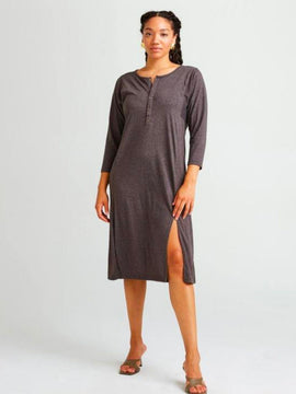 RicherPoorer Brown Henley Midi Dress