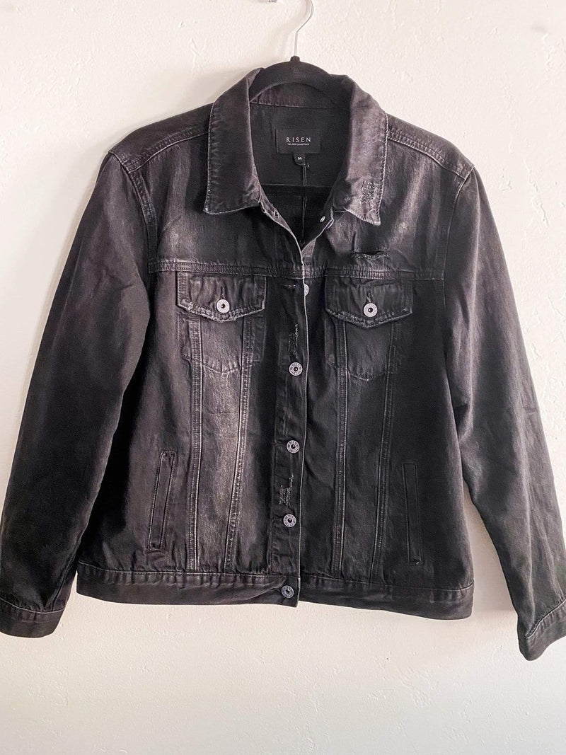 Risen Black Distressed Vintage Style Denim Jacket Phoenix and Willow
