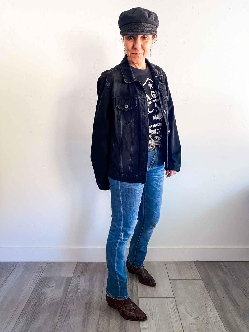 Risen Jean black distressed jean jacket | Phoenix + Willow