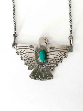 Genuine Sterling Silver Authentic Navajo Thunderbird Necklace with Turquoise Stone | Tim Yazzie