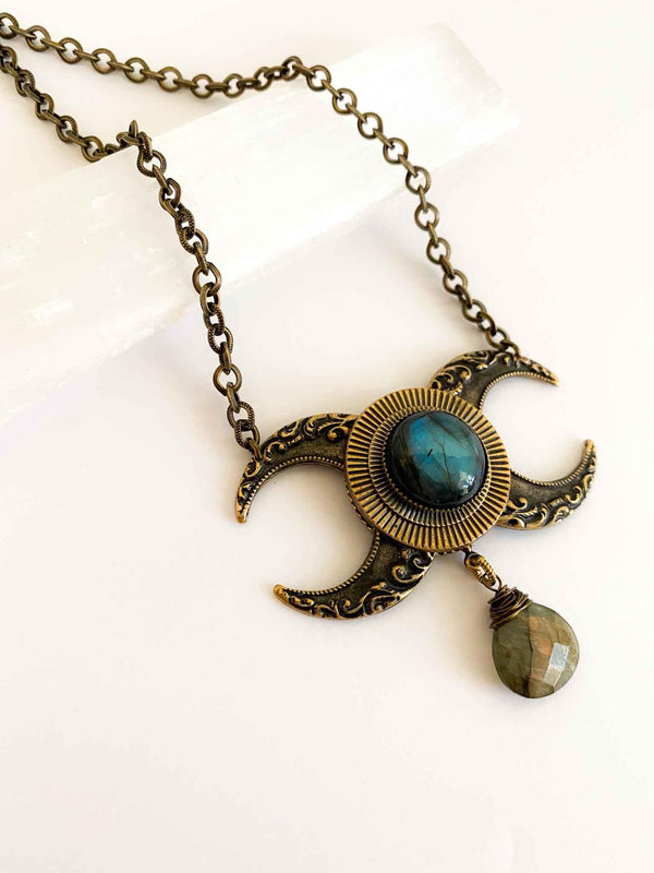 Trollbinde The Horned Goddess Antique Brass Labradorite Moon Phases Necklace | Phoenix + Willow
