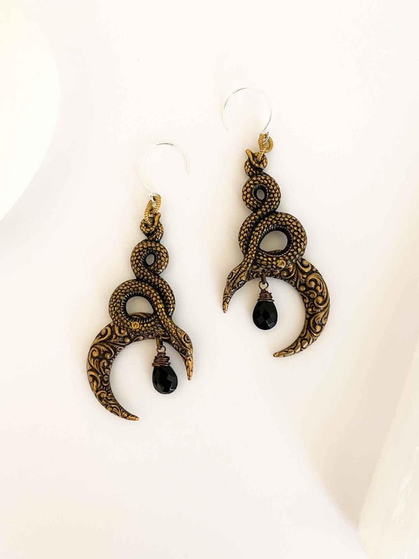 Moon of Ishtar Onyx Serpent Earrings