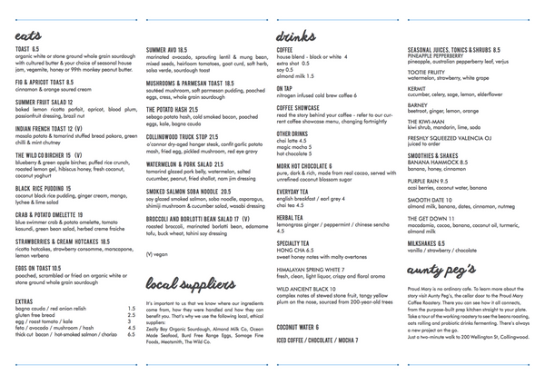 Proud Mary Cafe new menu