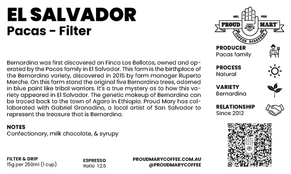 El Salvador | Pacas | Bernardina | Natural | Filter | 100g