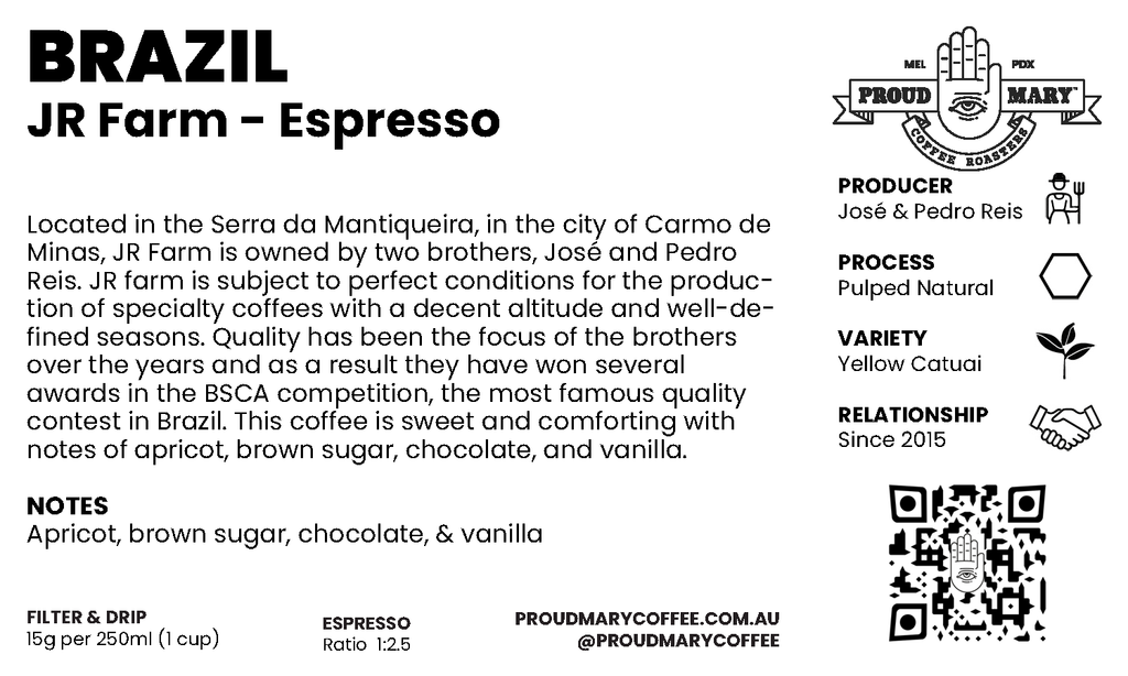 Brazil | JR Farm | Yellow Catuai | Pulped Natural | Espresso | 250g