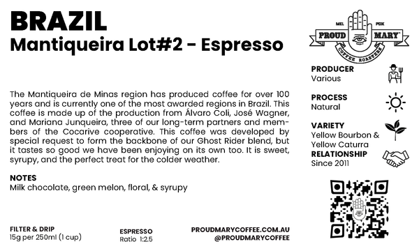 Brazil | Mantiqueira Lot#2 | Yellow Catuai & Yellow Bourbon | Natural | Espresso | 250g