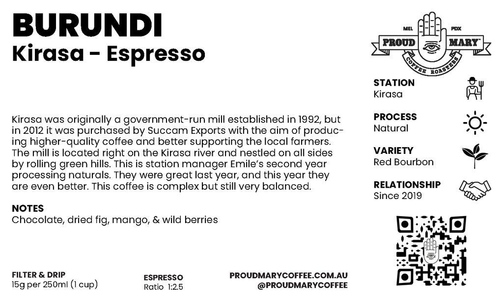 Burundi | Kirasa | Red Bourbon | Natural | Espresso | 250g