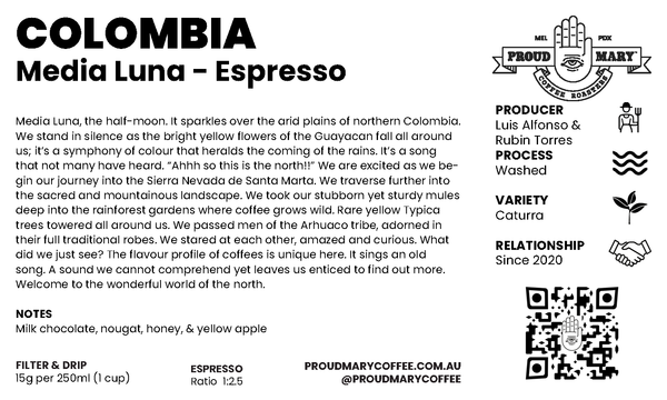 Colombia | Media Luna | Caturra | Washed | Espresso | 250g