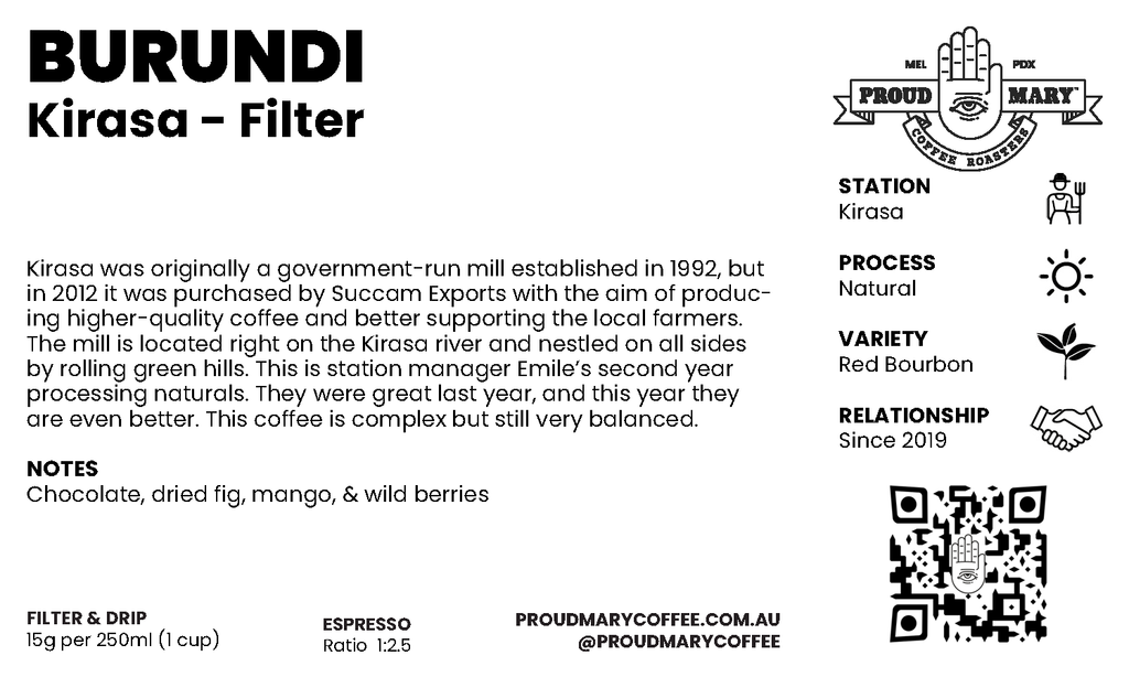 Burundi | Kirasa | Red Bourbon | Natural | Filter | 250g