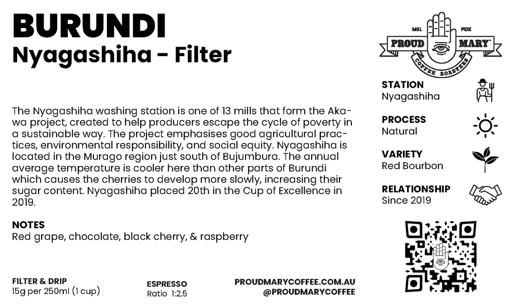 Burundi | Nyagashiha | Red Bourbon | Natural | Filter | 250g