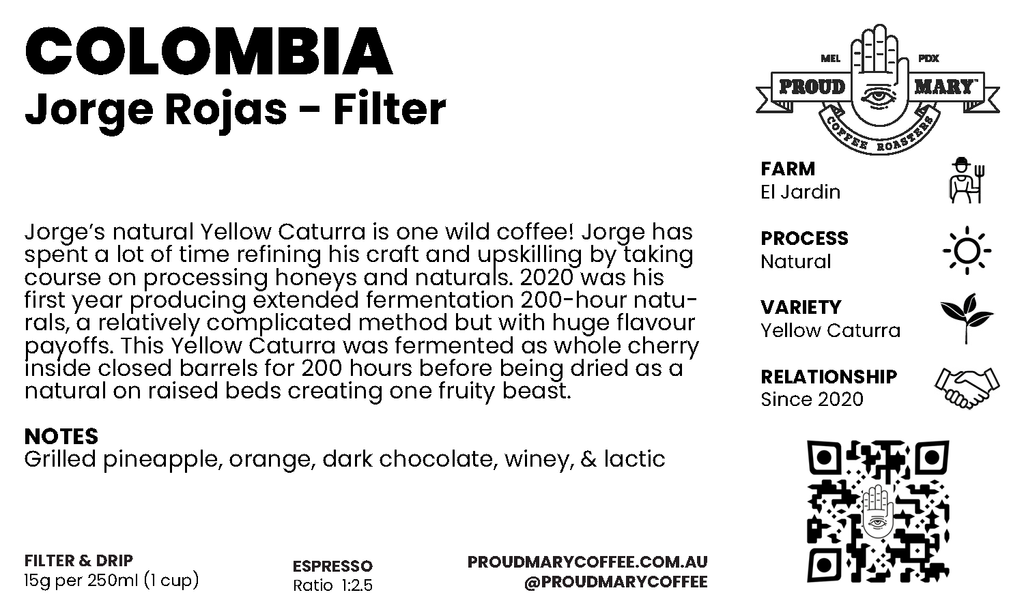 Colombia | Jorge Rojas | Yellow Caturra | Natural | Filter | 200g