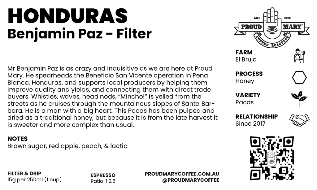 Honduras | Benjamin Paz | Pacas | Honey | Filter | 250g