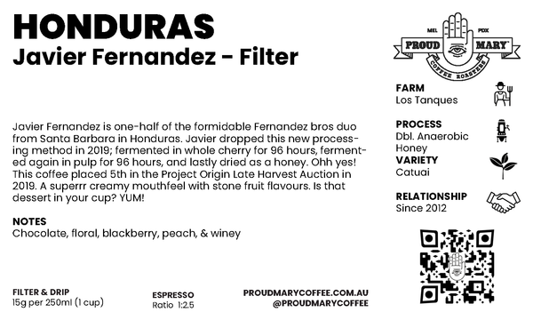Honduras | Javier Fernandez | Catuai | Dbl. Anaerobic Honey | Filter | 200g