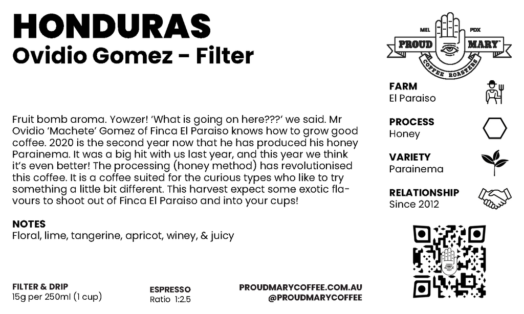 Honduras | Ovidio Gomez | Parainema | Honey | Filter | 200g
