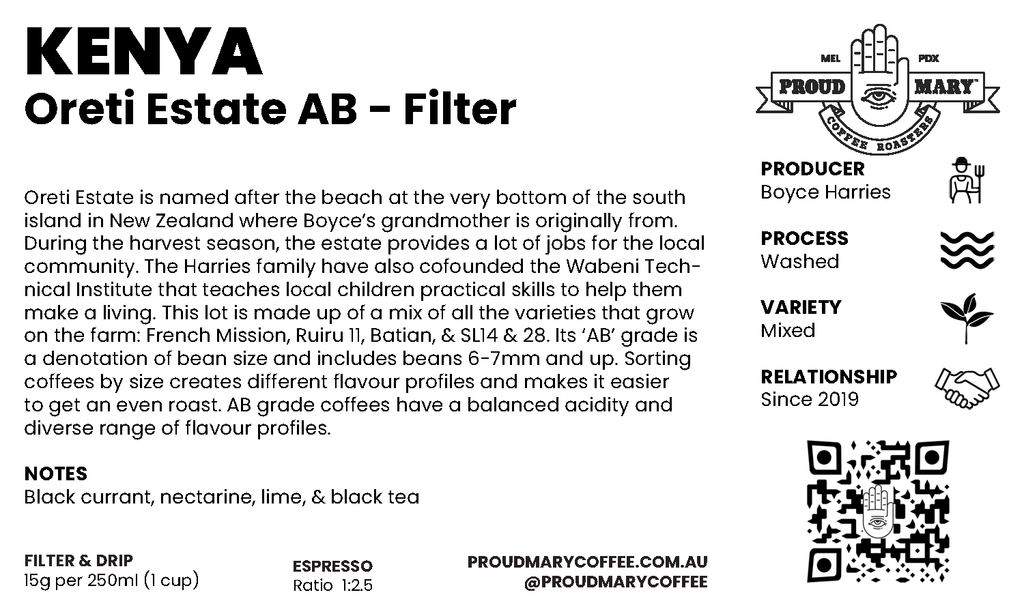 Kenya | Oreti Estate AB  | Mixed | Washed | Filter | 250g