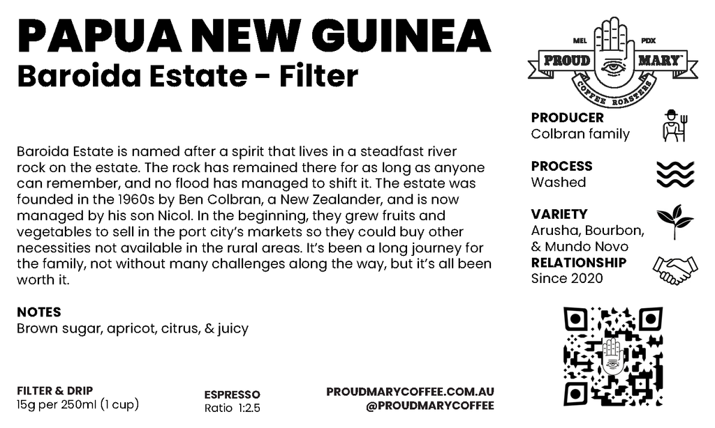 Papua New Guinea | Baroida Estate  | Mixed | Washed | Filter | 250g