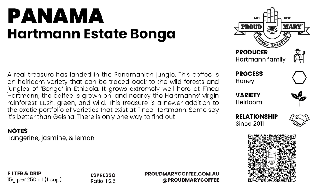 Panama | Hartmann Estate African Bonga | Ethiopian Heirloom | Honey | Filter | 100g