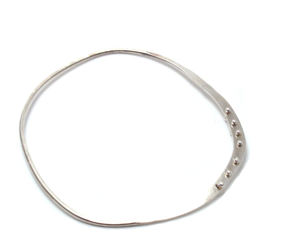 Silver Riveted Edge Bangle